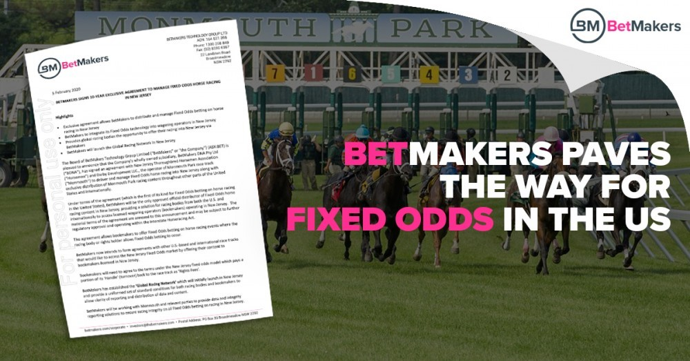 Thumbnail for Fixed Odds Betting Set to Debut at Monmouth Park Following Deal With BetMakers