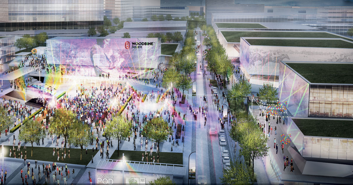 Woodbine Square is envisioned as a multi-functional entertainment space adjacent to the Woodbine race paddock.