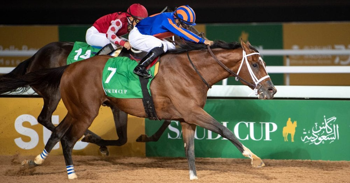 MAXIMUM SECURITY won the inaugural Saudi Cup this past winter and is set to finally return to the races July 18 for new trainer Bob Baffert - Saudi Jockey Club photo